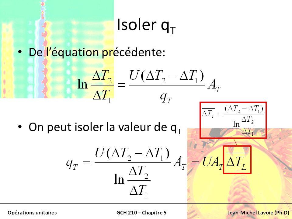 Opérations unitairesGCH 210 – Chapitre 5Jean-Michel Lavoie (Ph.D) Isoler q T De léquation précédente: On peut isoler la valeur de q T