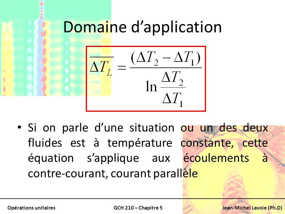 Opérations unitairesGCH 210 – Chapitre 5Jean-Michel Lavoie (Ph.D) Domaine dapplication Si on parle dune situation ou un des deux fluides est à tempéra