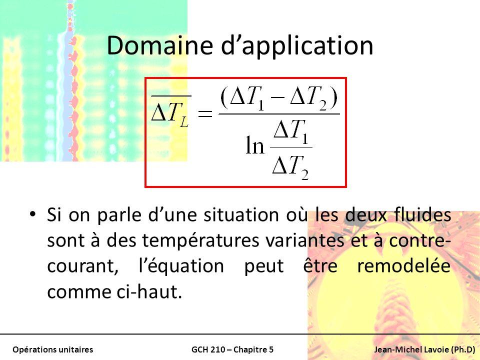 Opérations unitairesGCH 210 – Chapitre 5Jean-Michel Lavoie (Ph.D) Domaine dapplication Si on parle dune situation où les deux fluides sont à des tempé