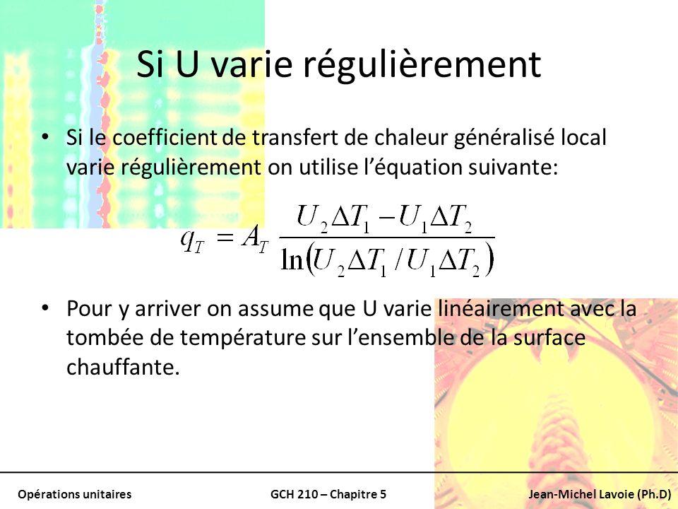 Opérations unitairesGCH 210 – Chapitre 5Jean-Michel Lavoie (Ph.D) Si U varie régulièrement Si le coefficient de transfert de chaleur généralisé local
