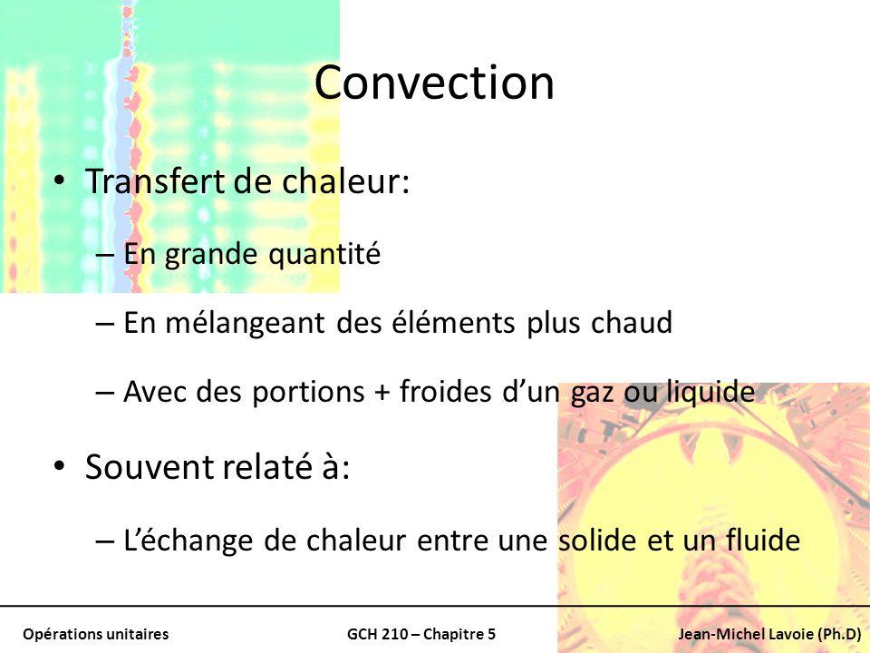 Opérations unitairesGCH 210 – Chapitre 5Jean-Michel Lavoie (Ph.D) 2 types de convection Convection forcée: – Lorsquun fluide est forcé à passer par leffet dune pompe ou un ventilateur Convection naturelle: – Où un fluide plus chaud ou plus froid adjacent à une surface solide cause une circulation en raison de la différence de densité résultant de la différence de température dans le fluide.