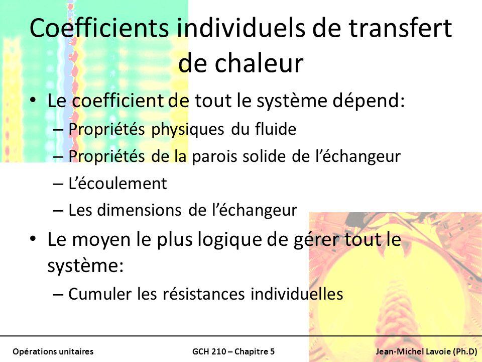 Opérations unitairesGCH 210 – Chapitre 5Jean-Michel Lavoie (Ph.D) Coefficients individuels de transfert de chaleur Le coefficient de tout le système d