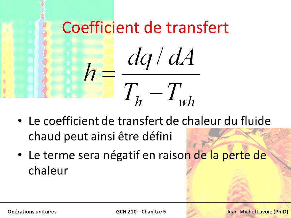 Opérations unitairesGCH 210 – Chapitre 5Jean-Michel Lavoie (Ph.D) Coefficient de transfert Le coefficient de transfert de chaleur du fluide chaud peut