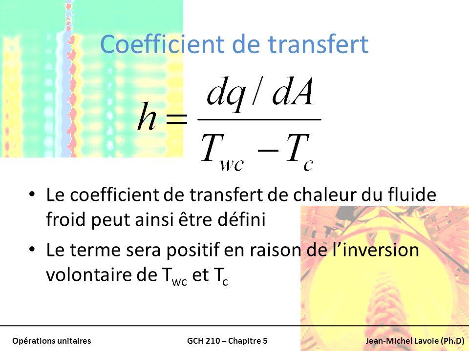 Opérations unitairesGCH 210 – Chapitre 5Jean-Michel Lavoie (Ph.D) Coefficient de transfert Le coefficient de transfert de chaleur du fluide froid peut