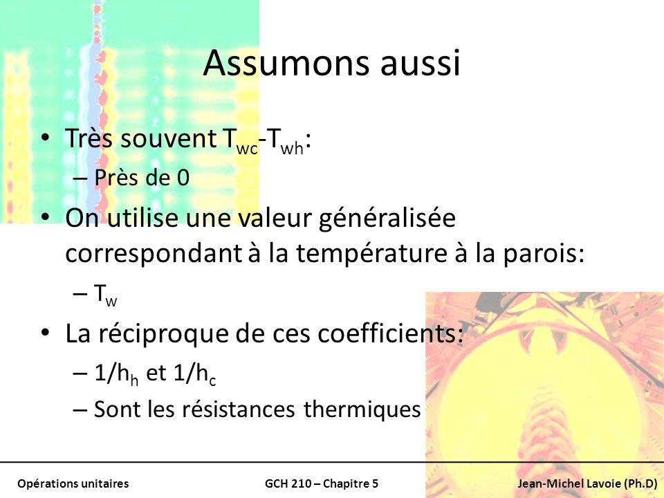 Opérations unitairesGCH 210 – Chapitre 5Jean-Michel Lavoie (Ph.D) Assumons aussi Très souvent T wc -T wh : – Près de 0 On utilise une valeur généralis