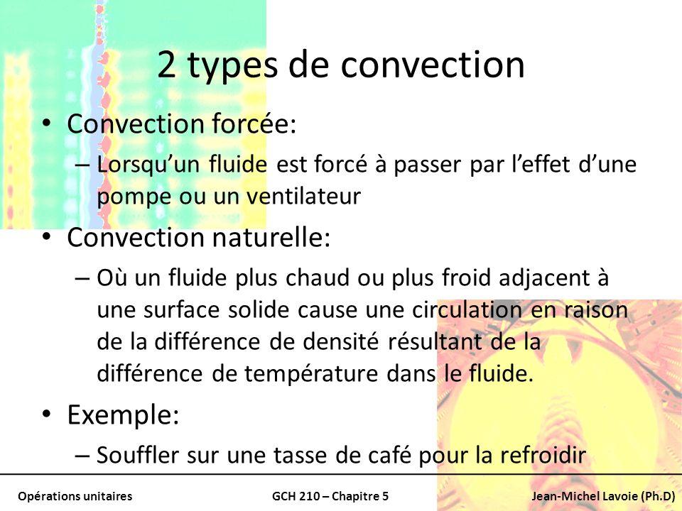 Opérations unitairesGCH 210 – Chapitre 5Jean-Michel Lavoie (Ph.D) On ajoute leffet du solide Pour une parois: – Dépaisseur x w – Conductivité thermique La résistance thermique devient: – x w /k Si on ajuste aux changements de surface Les résistances individuelles deviennent généralisées: 1/U