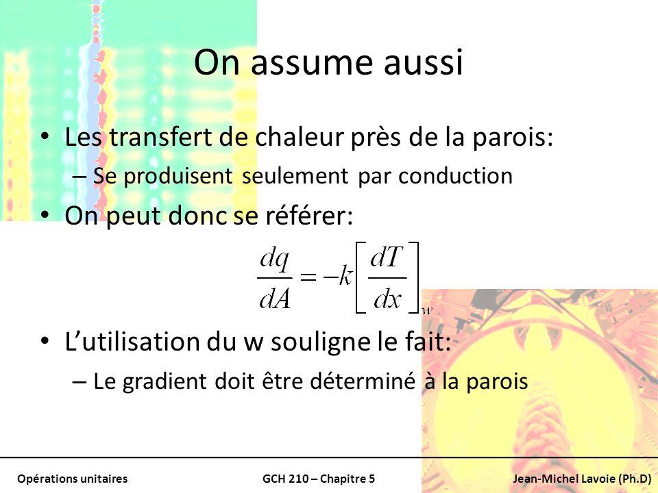 Opérations unitairesGCH 210 – Chapitre 5Jean-Michel Lavoie (Ph.D) On assume aussi Les transfert de chaleur près de la parois: – Se produisent seulemen