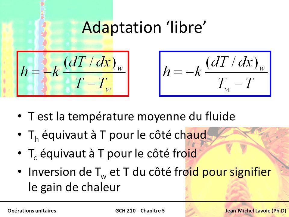 Opérations unitairesGCH 210 – Chapitre 5Jean-Michel Lavoie (Ph.D) Adaptation libre T est la température moyenne du fluide T h équivaut à T pour le côt