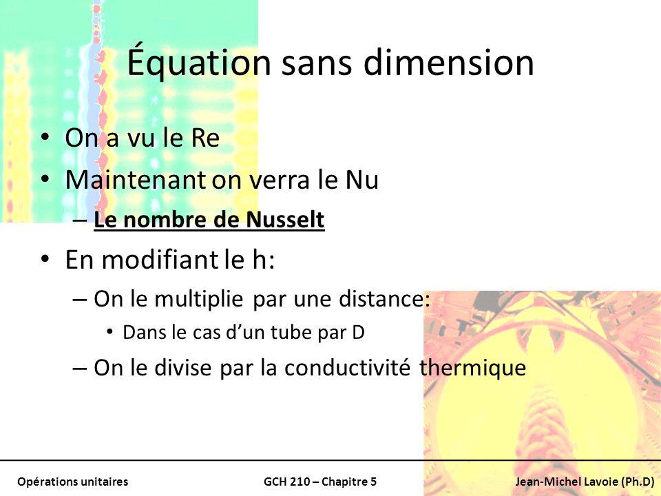 Opérations unitairesGCH 210 – Chapitre 5Jean-Michel Lavoie (Ph.D) Équation sans dimension On a vu le Re Maintenant on verra le Nu – Le nombre de Nusse