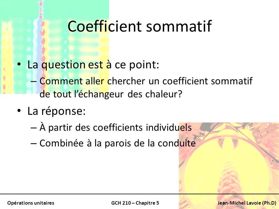Opérations unitairesGCH 210 – Chapitre 5Jean-Michel Lavoie (Ph.D) Coefficient sommatif La question est à ce point: – Comment aller chercher un coeffic