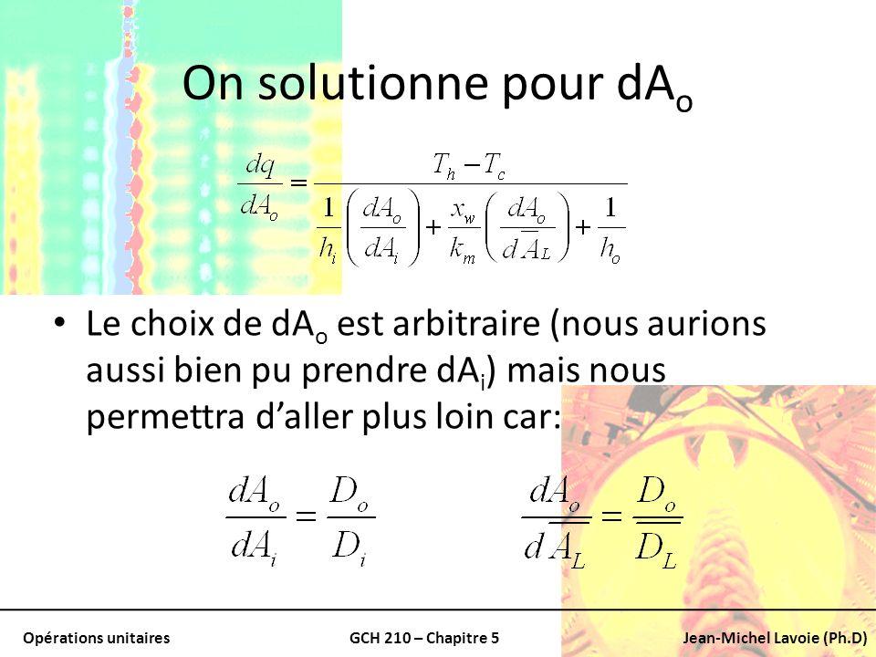 Opérations unitairesGCH 210 – Chapitre 5Jean-Michel Lavoie (Ph.D) On solutionne pour dA o Le choix de dA o est arbitraire (nous aurions aussi bien pu