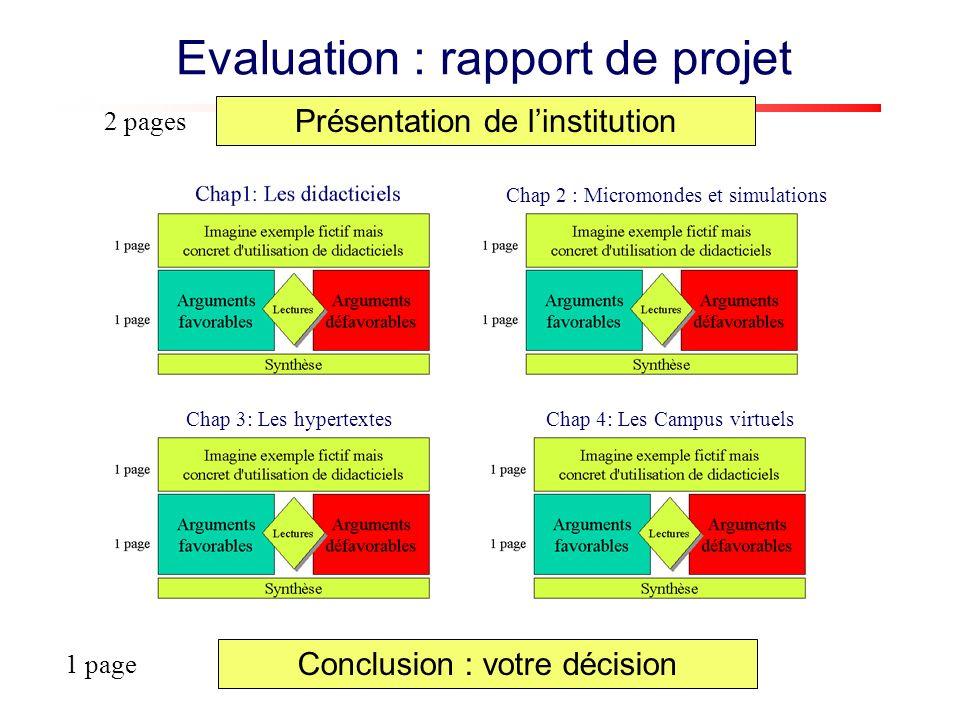 Présentation de linstitution 2 pages Conclusion : votre décision 1 page Evaluation : rapport de projet Chap 4: Les Campus virtuels Chap 2 : Micromondes et simulations Chap 3: Les hypertextes
