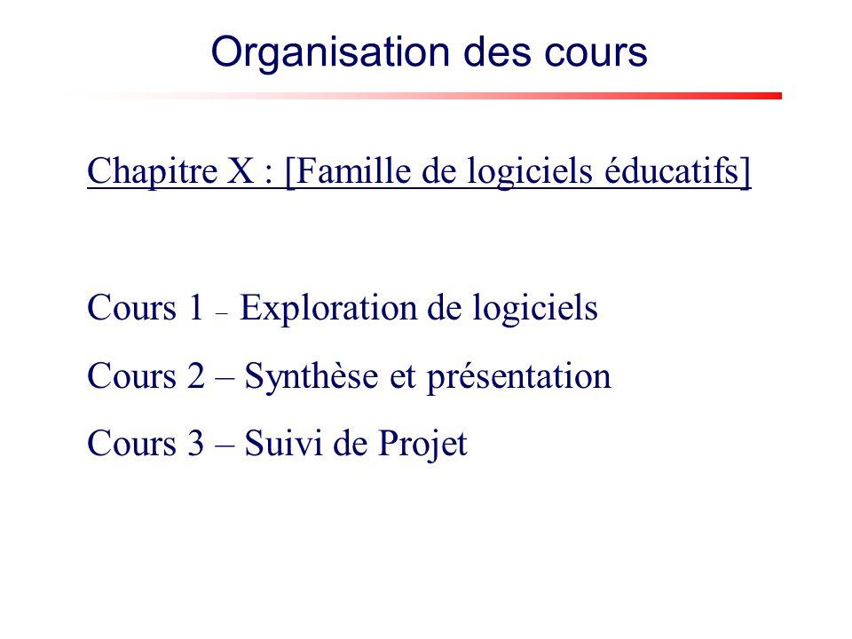 Chapitre X : [Famille de logiciels éducatifs] Cours 1 – Exploration de logiciels Cours 2 – Synthèse et présentation Cours 3 – Suivi de Projet Organisation des cours
