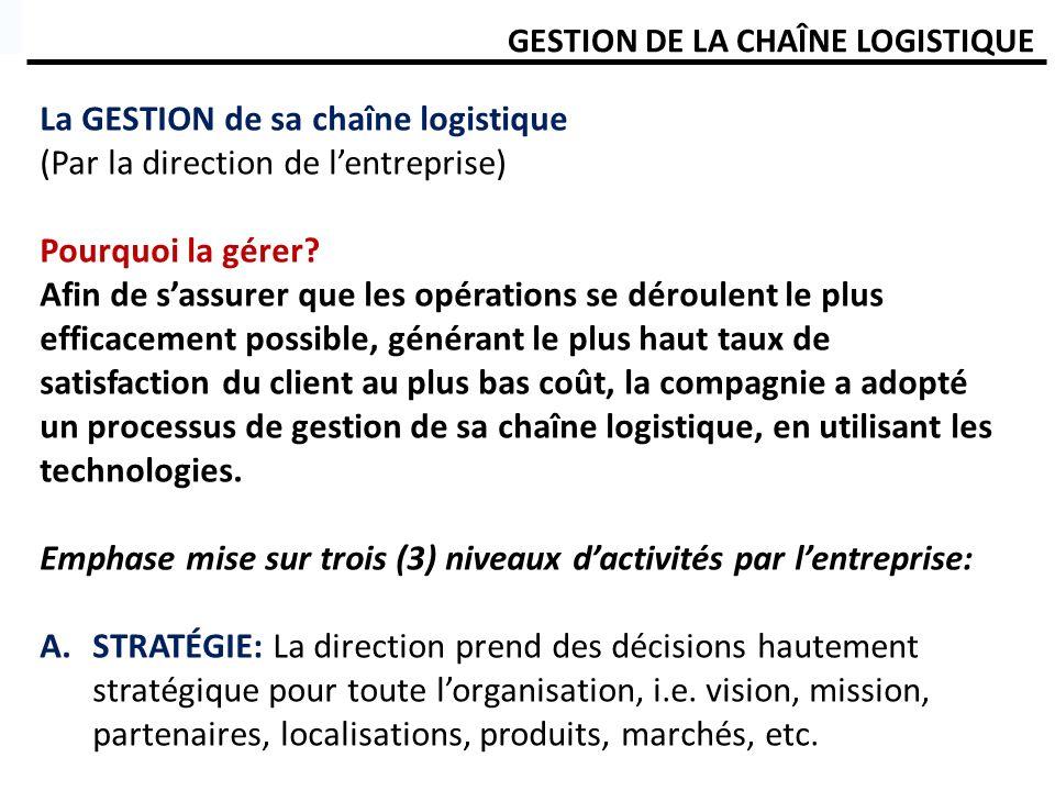 GESTION DE LA CHAÎNE LOGISTIQUE La GESTION de sa chaîne logistique (Par la direction de lentreprise) Pourquoi la gérer? Afin de sassurer que les opéra