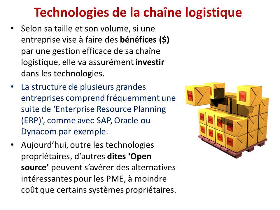 Technologies de la chaîne logistique Selon sa taille et son volume, si une entreprise vise à faire des bénéfices ($) par une gestion efficace de sa ch