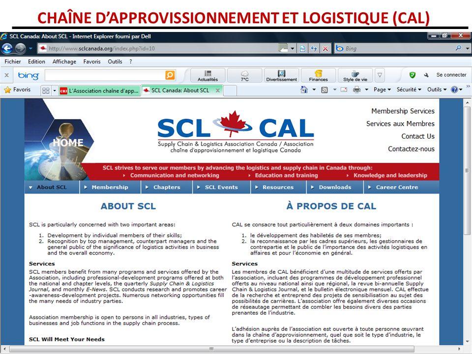 CHAÎNE DAPPROVISSIONNEMENT ET LOGISTIQUE (CAL)