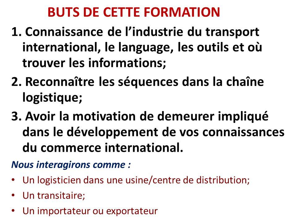 BUTS DE CETTE FORMATION 1. Connaissance de lindustrie du transport international, le language, les outils et où trouver les informations; 2. Reconnaît