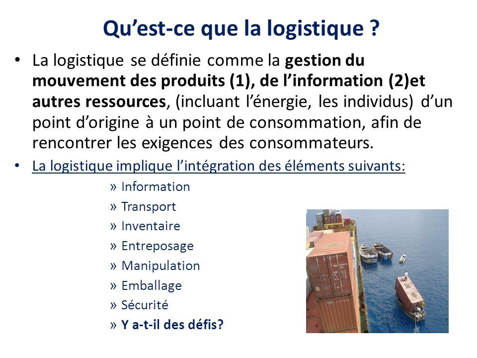 Quest-ce que la logistique ? La logistique se définie comme la gestion du mouvement des produits (1), de linformation (2)et autres ressources, (inclua