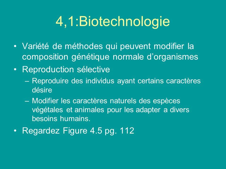 4,1:Biotechnologie Variété de méthodes qui peuvent modifier la composition génétique normale dorganismes Reproduction sélective –Reproduire des indivi