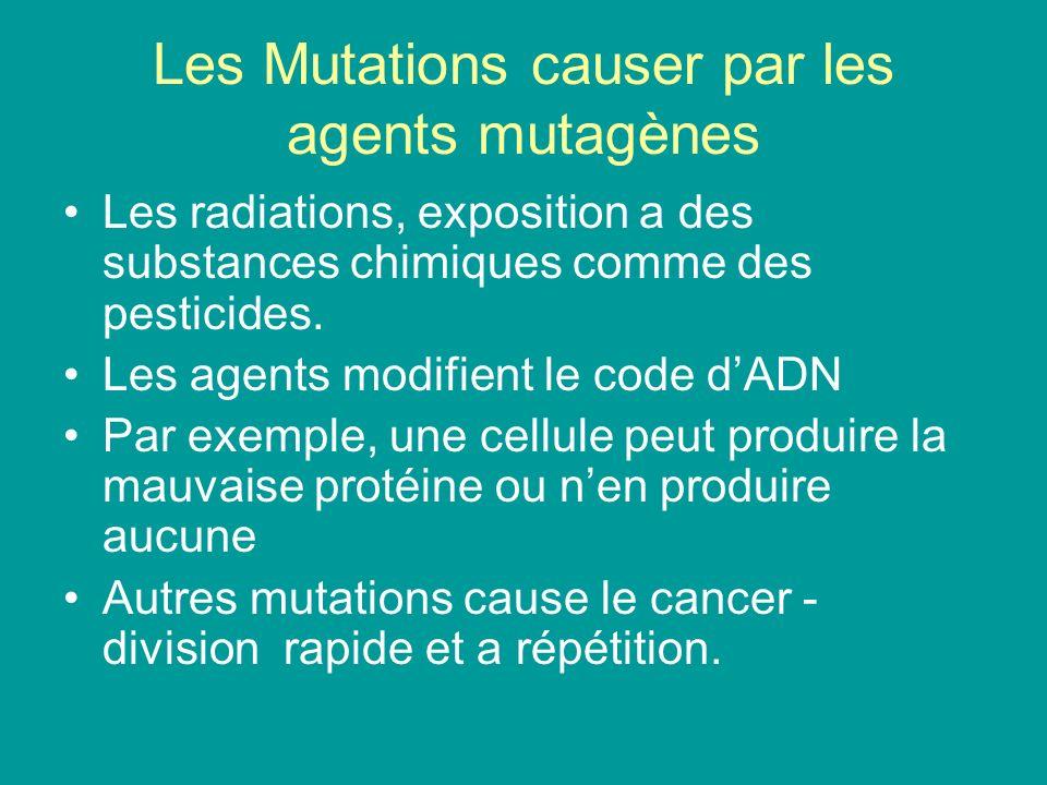 Les Mutations causer par les agents mutagènes Les radiations, exposition a des substances chimiques comme des pesticides. Les agents modifient le code