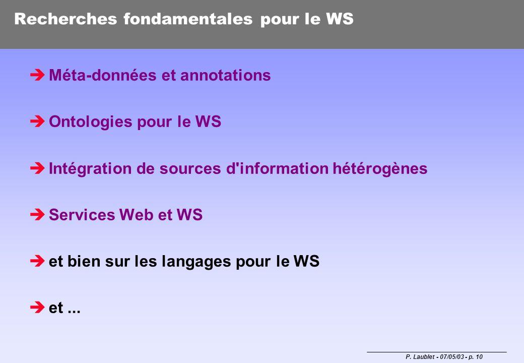 P. Laublet - 07/05/03 - p. 10 Recherches fondamentales pour le WS Méta-données et annotations Ontologies pour le WS Intégration de sources d'informati