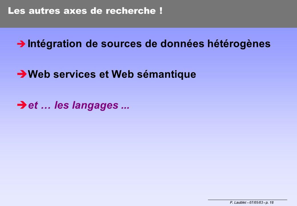 P. Laublet - 07/05/03 - p. 18 Les autres axes de recherche ! Intégration de sources de données hétérogènes Web services et Web sémantique et … les lan