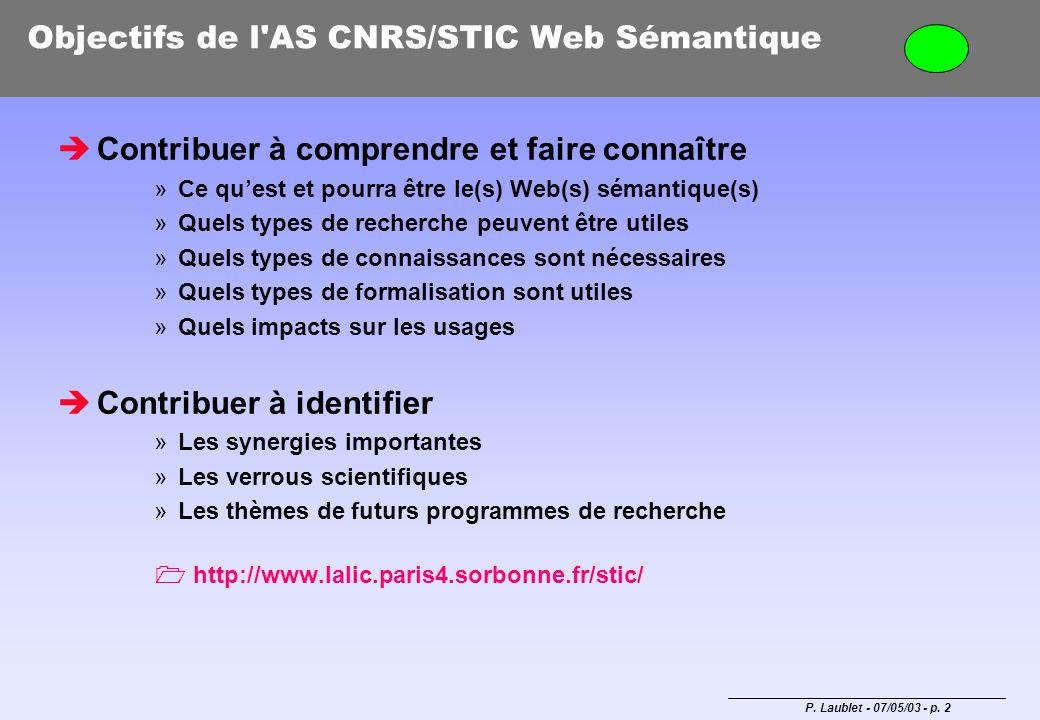 P. Laublet - 07/05/03 - p. 2 Objectifs de l'AS CNRS/STIC Web Sémantique Contribuer à comprendre et faire connaître »Ce quest et pourra être le(s) Web(