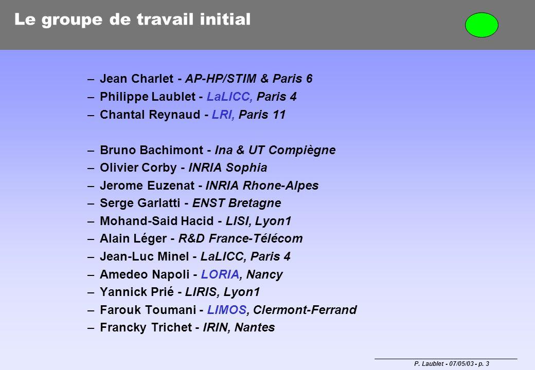 P. Laublet - 07/05/03 - p. 3 Le groupe de travail initial –Jean Charlet - AP-HP/STIM & Paris 6 –Philippe Laublet - LaLICC, Paris 4 –Chantal Reynaud -