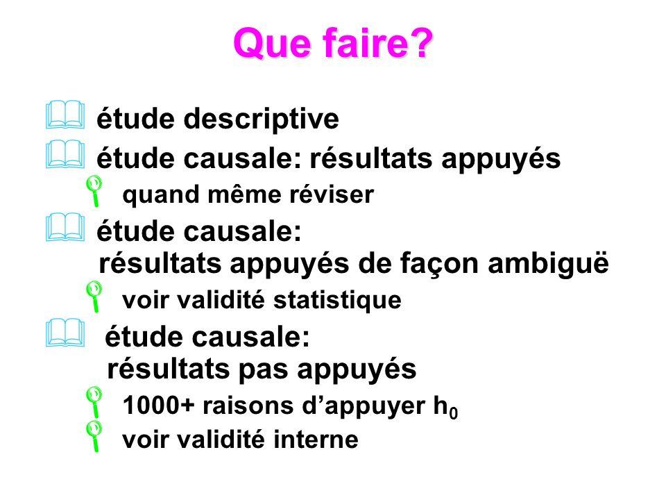 Que faire? étude descriptive étude causale: résultats appuyés quand même réviser étude causale: résultats appuyés de façon ambiguë voir validité stati