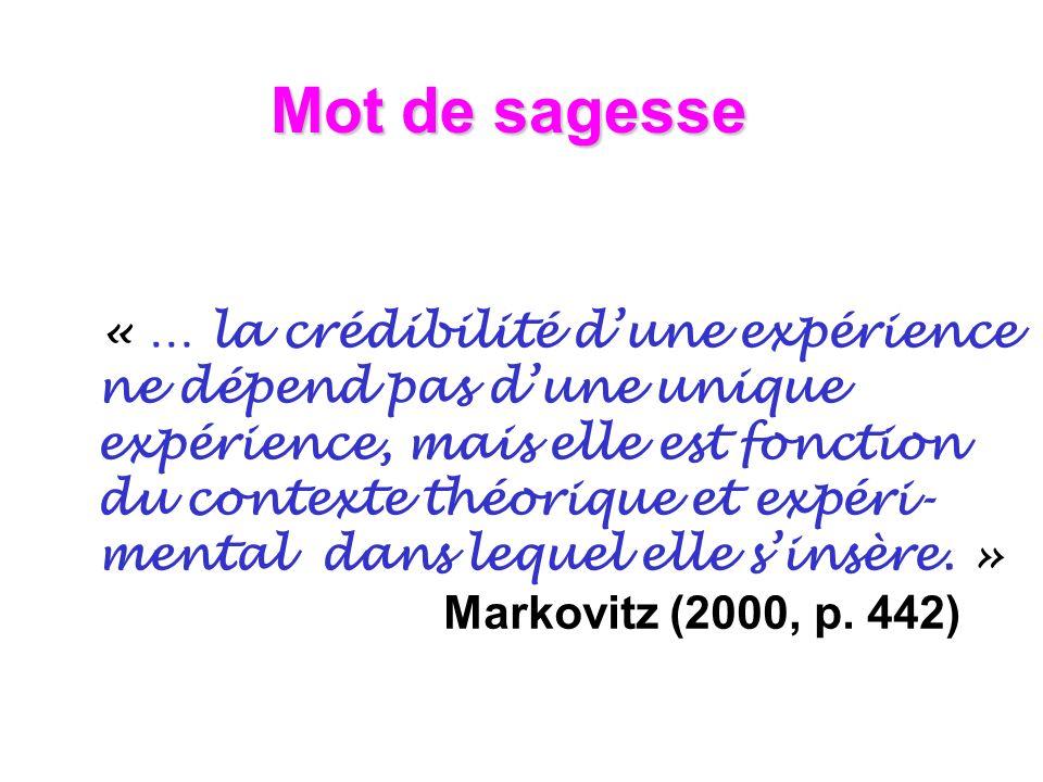 Mot de sagesse « … la crédibilité dune expérience ne dépend pas dune unique expérience, mais elle est fonction du contexte théorique et expéri- mental