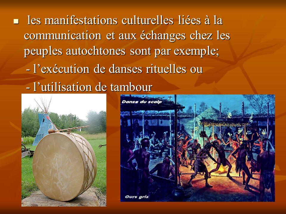 les manifestations culturelles liées à la communication et aux échanges chez les peuples autochtones sont par exemple; les manifestations culturelles