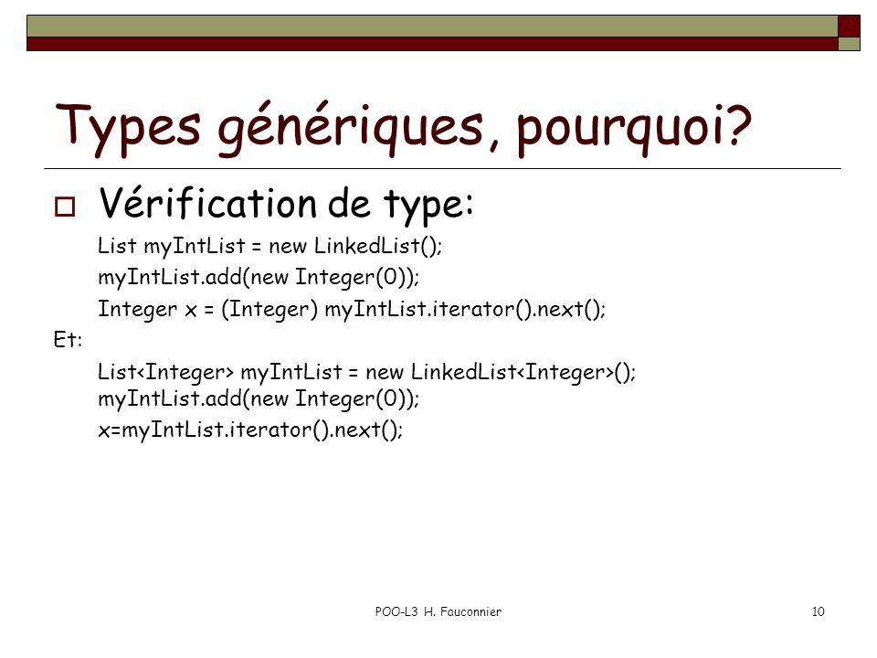Types génériques, pourquoi? Vérification de type: List myIntList = new LinkedList(); myIntList.add(new Integer(0)); Integer x = (Integer) myIntList.it