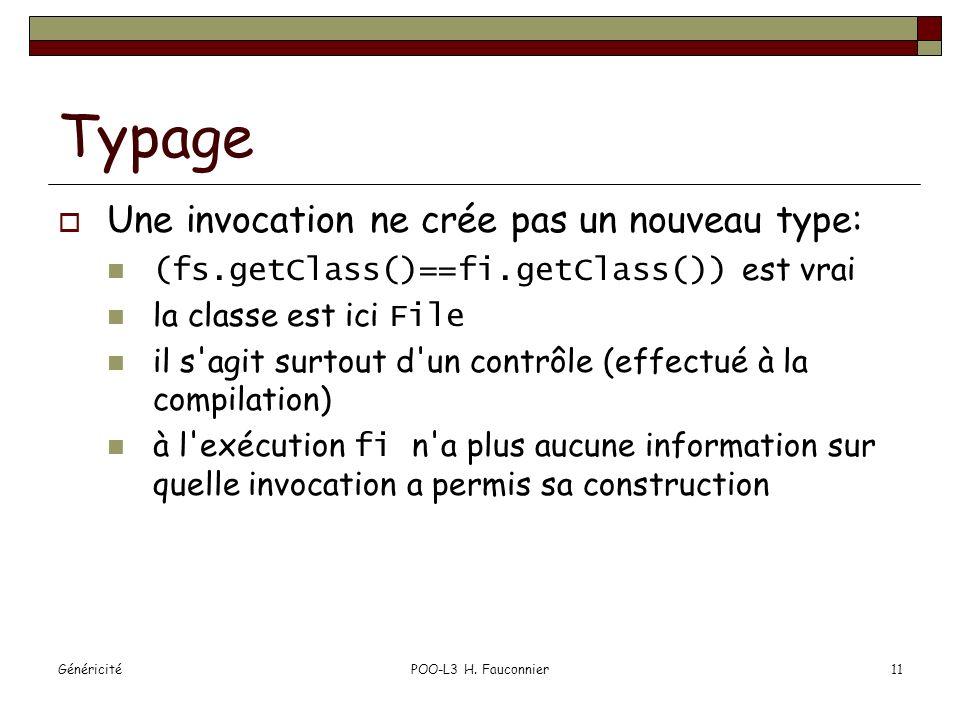 GénéricitéPOO-L3 H. Fauconnier11 Typage Une invocation ne crée pas un nouveau type: (fs.getClass()==fi.getClass()) est vrai la classe est ici File il