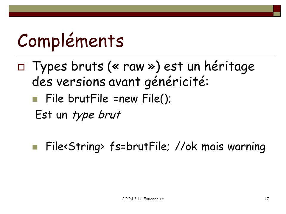 Compléments Types bruts (« raw ») est un héritage des versions avant généricité: File brutFile =new File(); Est un type brut File fs=brutFile; //ok mais warning POO-L3 H.