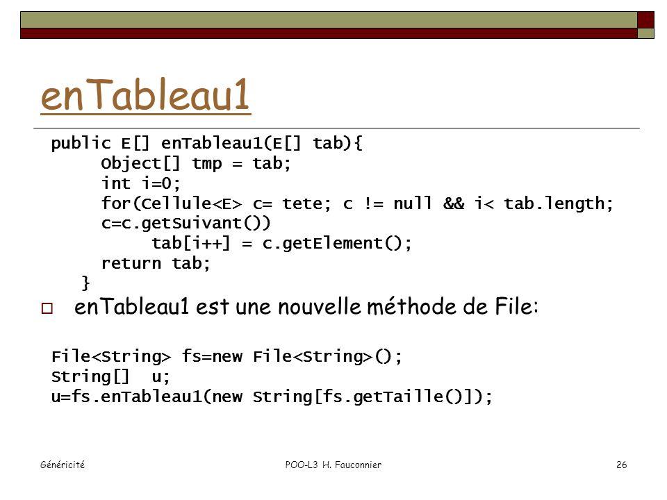 GénéricitéPOO-L3 H. Fauconnier26 enTableau1 public E[] enTableau1(E[] tab){ Object[] tmp = tab; int i=0; for(Cellule c= tete; c != null && i< tab.leng