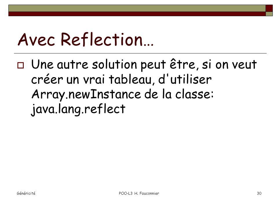 GénéricitéPOO-L3 H. Fauconnier30 Avec Reflection… Une autre solution peut être, si on veut créer un vrai tableau, d'utiliser Array.newInstance de la c