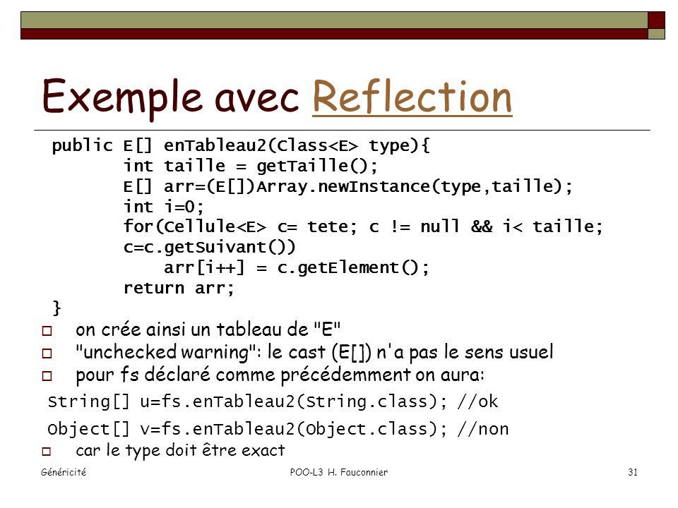 GénéricitéPOO-L3 H. Fauconnier31 Exemple avec ReflectionReflection public E[] enTableau2(Class type){ int taille = getTaille(); E[] arr=(E[])Array.new