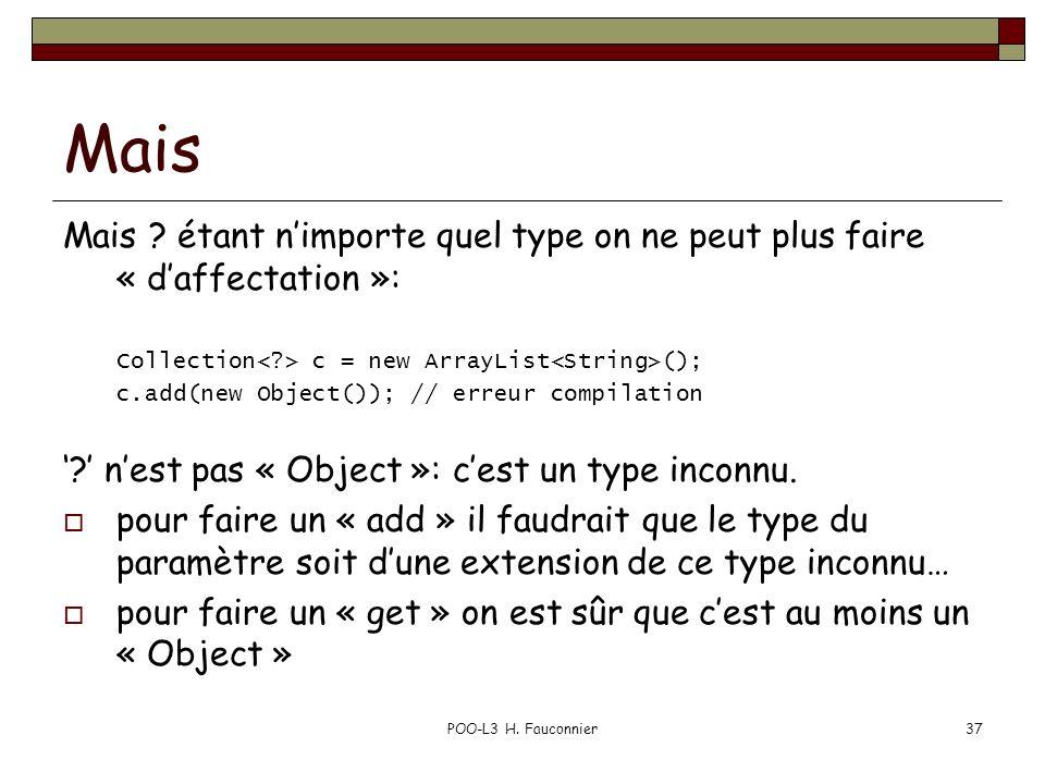 Mais Mais ? étant nimporte quel type on ne peut plus faire « daffectation »: Collection c = new ArrayList (); c.add(new Object()); // erreur compilati