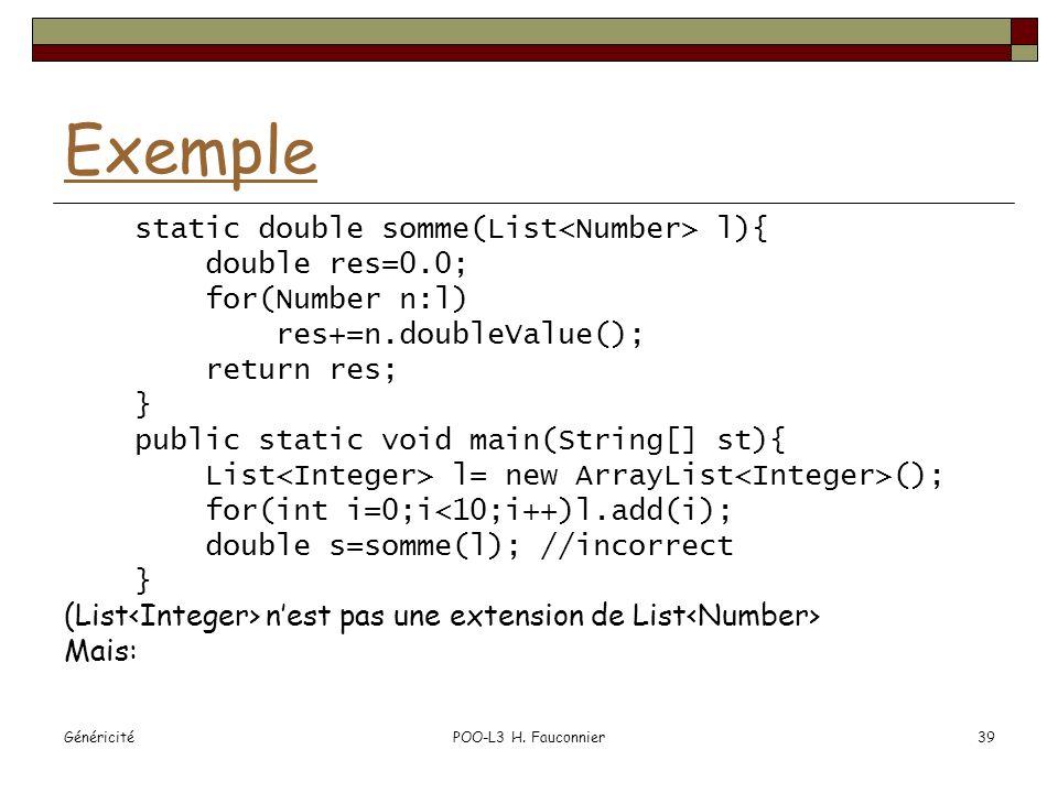 GénéricitéPOO-L3 H. Fauconnier39 Exemple static double somme(List l){ double res=0.0; for(Number n:l) res+=n.doubleValue(); return res; } public stati