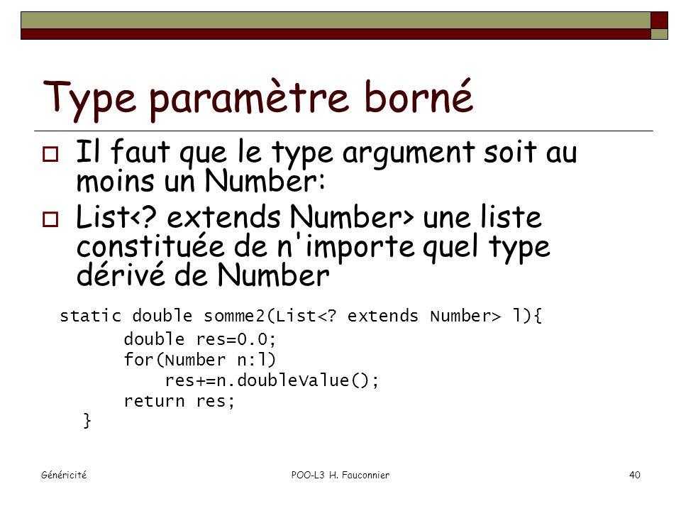 GénéricitéPOO-L3 H. Fauconnier40 Type paramètre borné Il faut que le type argument soit au moins un Number: List une liste constituée de n'importe que