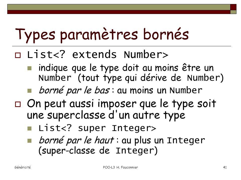 GénéricitéPOO-L3 H. Fauconnier41 Types paramètres bornés List indique que le type doit au moins être un Number (tout type qui dérive de Number ) borné