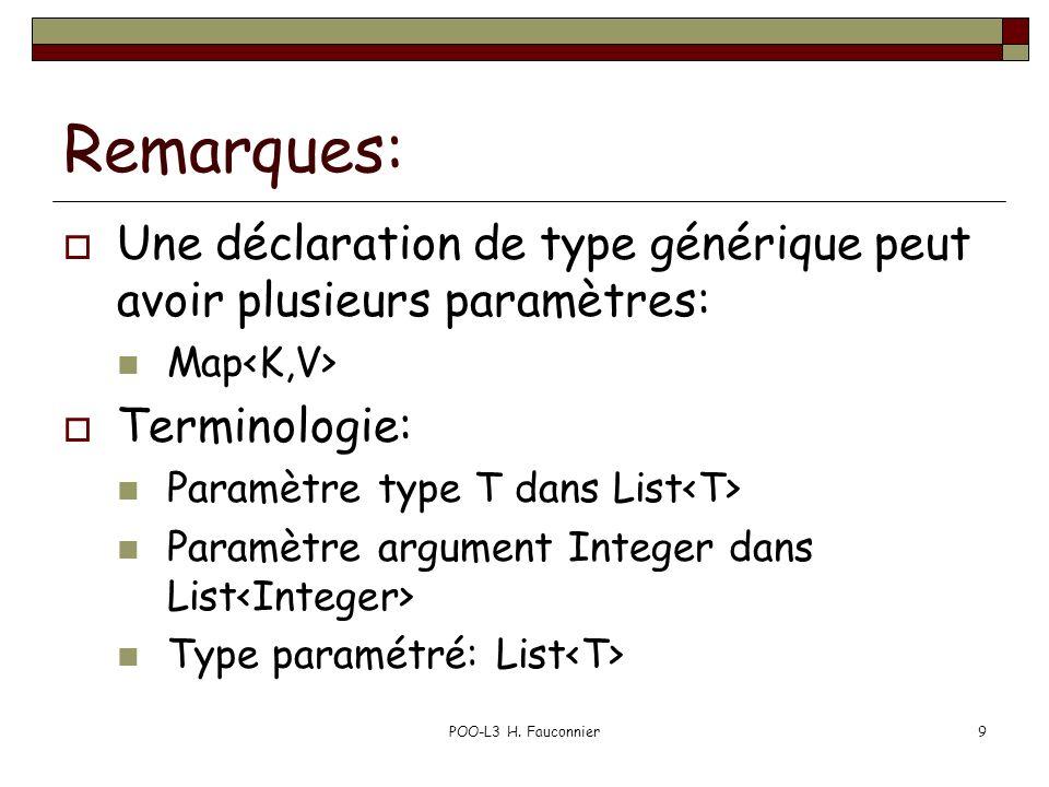 Remarques: Une déclaration de type générique peut avoir plusieurs paramètres: Map Terminologie: Paramètre type T dans List Paramètre argument Integer dans List Type paramétré: List POO-L3 H.