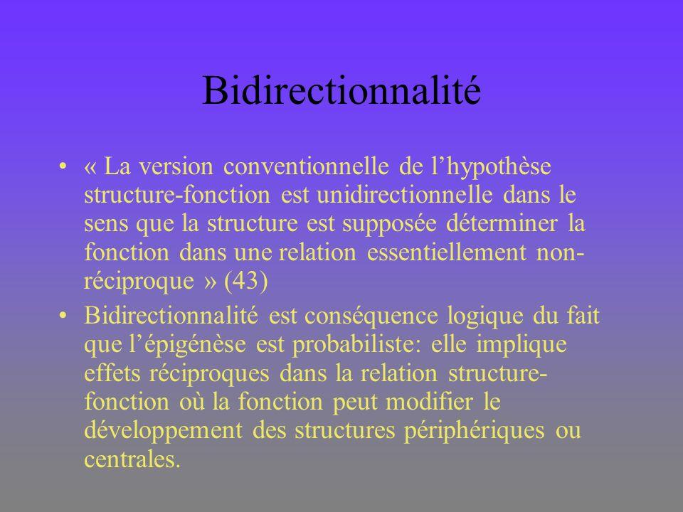 Bidirectionnalité « La version conventionnelle de lhypothèse structure-fonction est unidirectionnelle dans le sens que la structure est supposée déter
