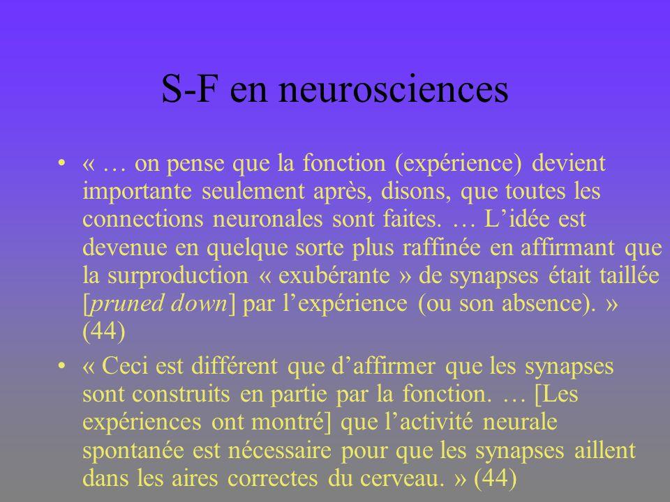 S-F en neurosciences « … on pense que la fonction (expérience) devient importante seulement après, disons, que toutes les connections neuronales sont