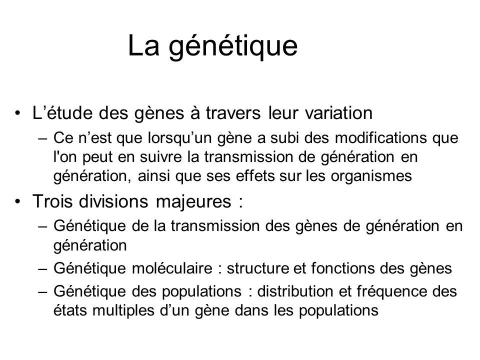 La génétique Létude des gènes à travers leur variation –Ce nest que lorsquun gène a subi des modifications que l'on peut en suivre la transmission de