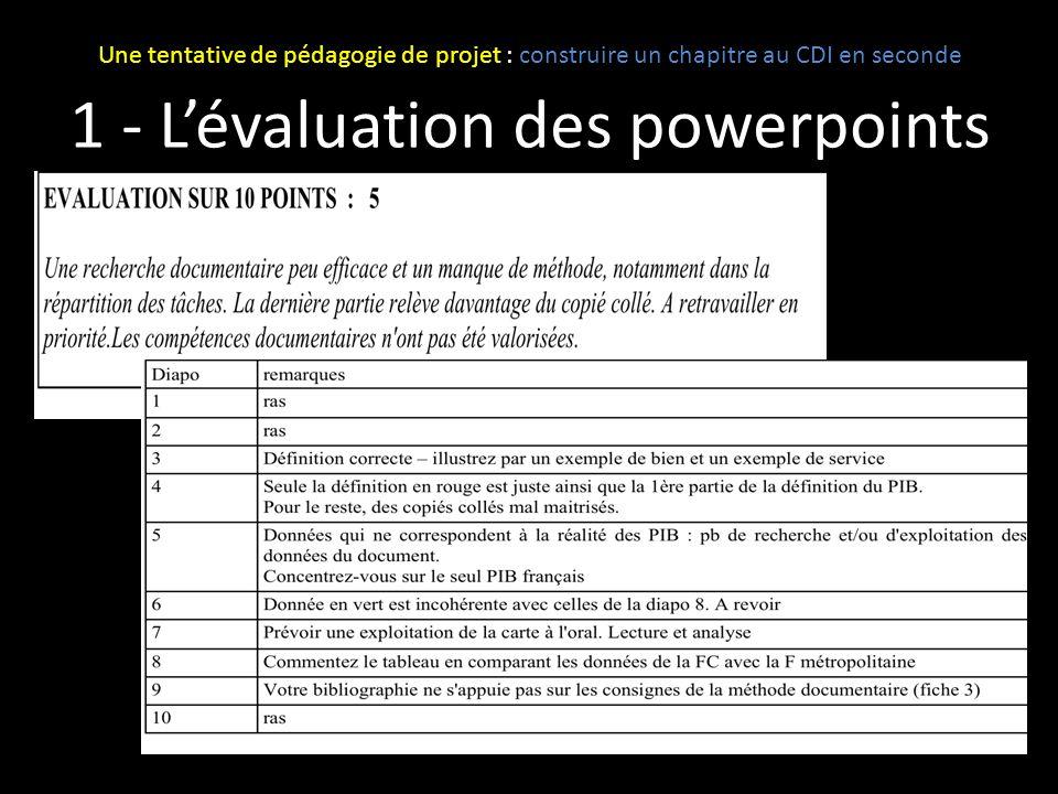 1 - Lévaluation des powerpoints Une tentative de pédagogie de projet : construire un chapitre au CDI en seconde