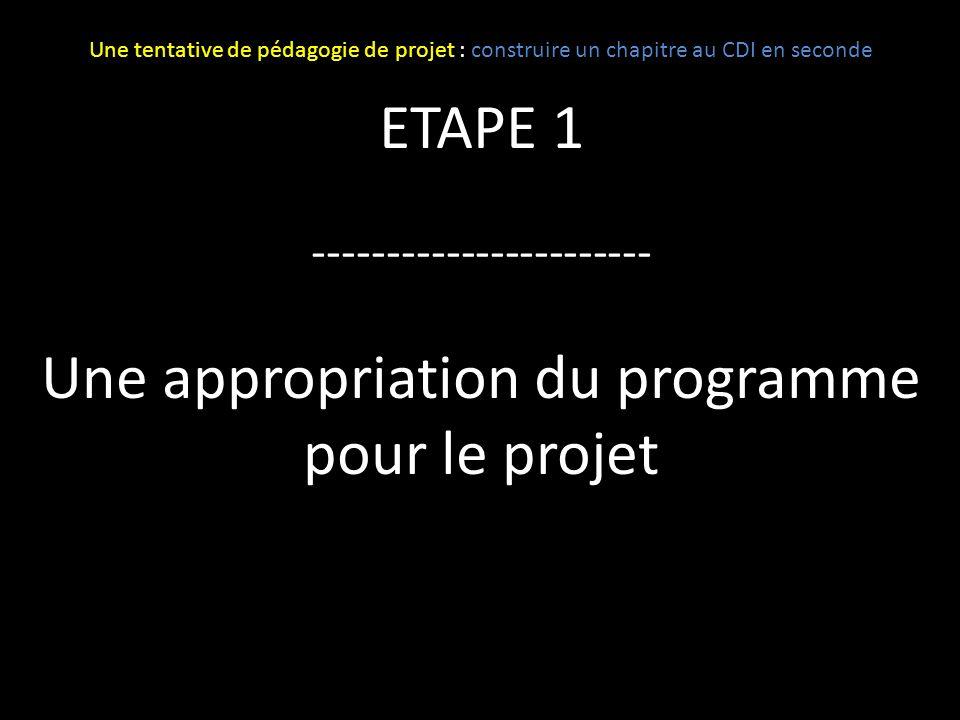 ETAPE 1 ----------------------- Une appropriation du programme pour le projet Une tentative de pédagogie de projet : construire un chapitre au CDI en