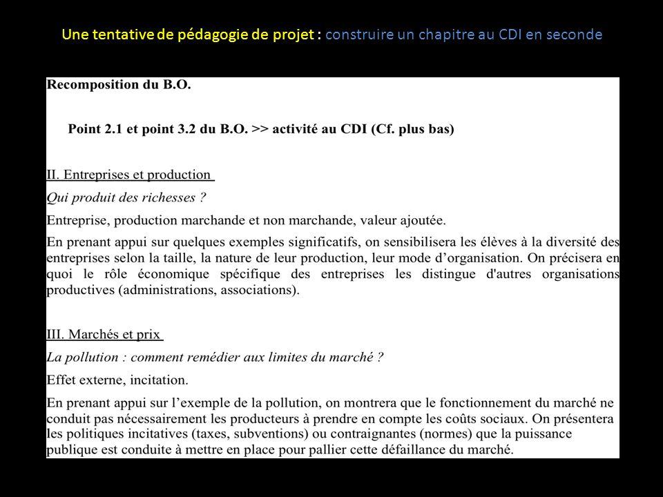 ETAPE 7 ----------------------- Les 3 évaluations des élèves >> Evaluation formative conseillée mais… Une tentative de pédagogie de projet : construire un chapitre au CDI en seconde