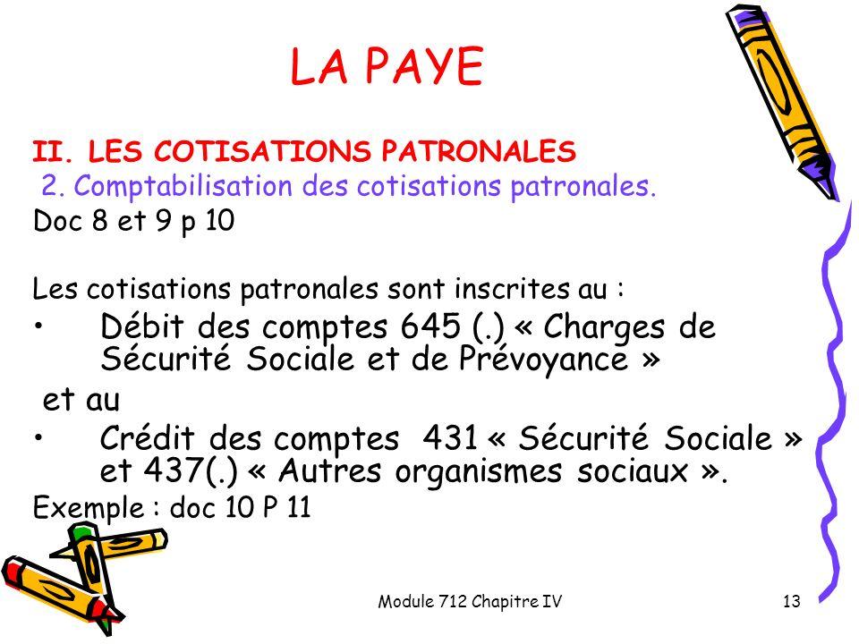 Module 712 Chapitre IV13 LA PAYE II. LES COTISATIONS PATRONALES 2. Comptabilisation des cotisations patronales. Doc 8 et 9 p 10 Les cotisations patron