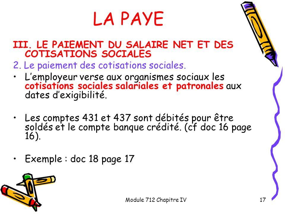 Module 712 Chapitre IV17 LA PAYE III. LE PAIEMENT DU SALAIRE NET ET DES COTISATIONS SOCIALES 2. Le paiement des cotisations sociales. Lemployeur verse